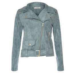 Glamorous Faux Suede Biker Jacket - Dusty Blue