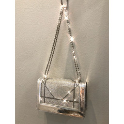 Malissa J Sparkle Metallic Boxy Bag  - Silver