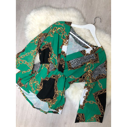 Lucy Cobb Scarf Print Top - Green