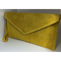 Lucy Cobb Suede Clutch in Yellow