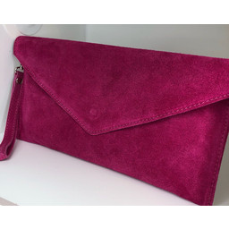 Lucy Cobb Suede Clutch in Fuchsia
