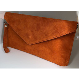 Lucy Cobb Suede Clutch - Orange
