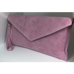 Lucy Cobb Suede Clutch in Pink