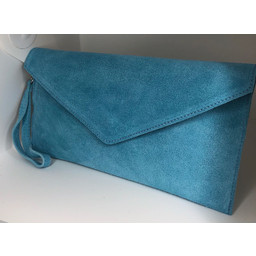 LC Bags Suede Clutch in Pale Blue