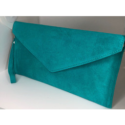 Lucy Cobb Suede Clutch in Teal
