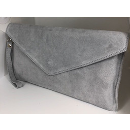 Lucy Cobb Suede Clutch in Silver Grey