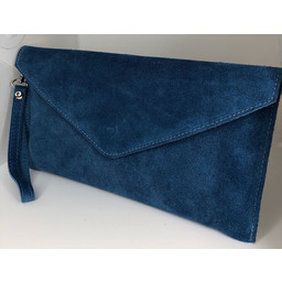 Lucy Cobb Suede Clutch in Denim Blue