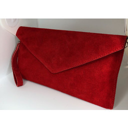 Lucy Cobb Suede Clutch in Red