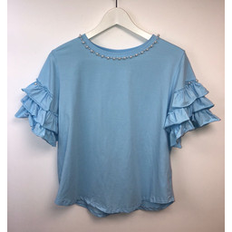 Lucy Cobb Penny Pearl T Shirt - Pale Blue