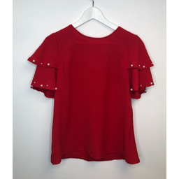 Lucy Cobb Perry Pearl Top - Red