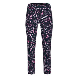 Robell Rose 09 Abstract Print Trousers - Navy Mix