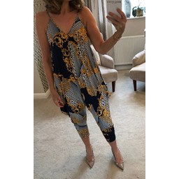 Lucy Cobb Grecian Print Jumpsuit - Black
