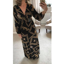 Scarf Print Maxi Dress - Black Mix