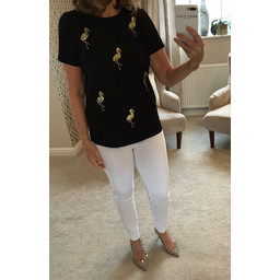 Lucy Cobb Sequin Flamingo Tee - Black