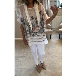 Lucy Cobb Clara Floral Print Scarf Top - White Mix