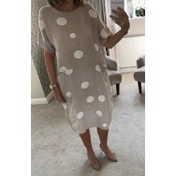Lucy Cobb Linen Spot Dress - Stone