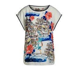 Oui Amalfi Patch Shirt - White Mix