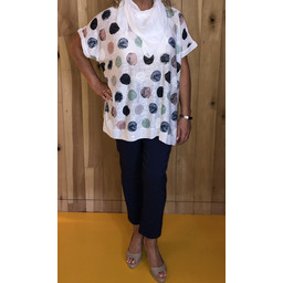 Lucy Cobb Scarf Spot Top - White