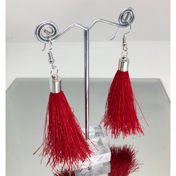 Lucy Cobb Tassel Earrings in Red