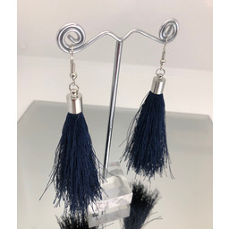 Lucy Cobb Tassel Earrings in Navy
