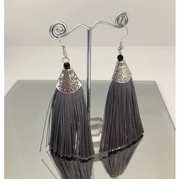 Lucy Cobb Egyptian Tassel Earrings in Silver Grey