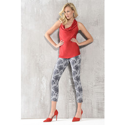 Robell Rose 09 Graphic Floral Print Trousers - Grey