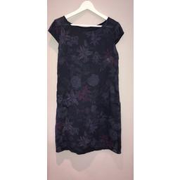 Lucy Cobb Petal Floral Linen dress - Navy
