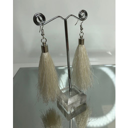 Lucy Cobb Tassel Earrings in White