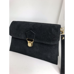 Lucy Cobb Double Suede Clutch - Black
