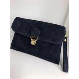 Lucy Cobb Double Suede Clutch - Navy