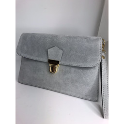 Lucy Cobb Double Suede Clutch - Silver Grey