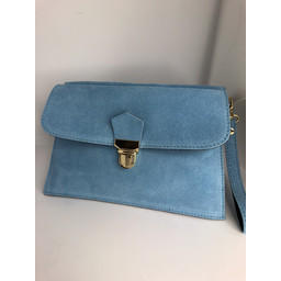Lucy Cobb Double Suede Clutch in Turquoise