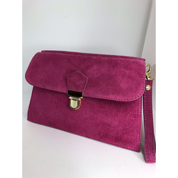 Lucy Cobb Double Suede Clutch - Fuchsia