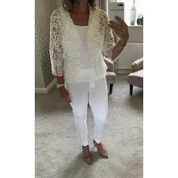 Lucy Cobb Diana Lace Blazer - White