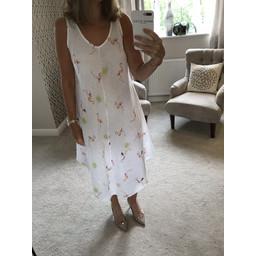 Lucy Cobb Flamingo Linen Dress - White