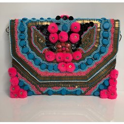 Glamorous Pom Pom Bag - Multicoloured