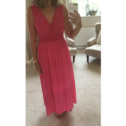 Lucy Cobb Lace Detail Maxi in Fuchsia