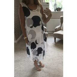 Lucy Cobb Sleeveless Printed Dress - White Spot Bold