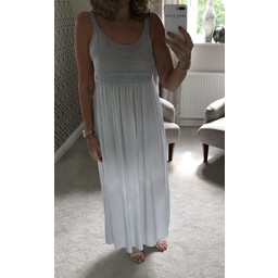 Lucy Cobb Crochet Maxi Dress in Light Grey
