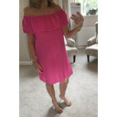 Era Frill Linen Dress - Fuchsia
