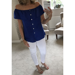 Lucy Cobb Maisey Linen Button Top - Royal