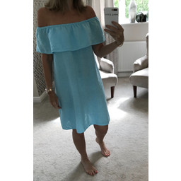 Lucy Cobb Era Frill Linen Dress in Turquoise