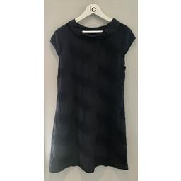 Lucy Cobb Feather Linen Dress  - Navy