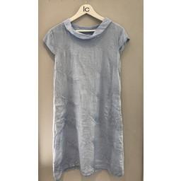 Lucy Cobb Feather Linen Dress  - Light Grey