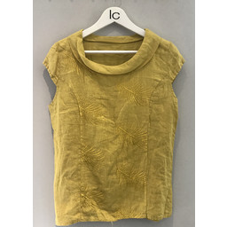 Lucy Cobb Feather Linen Top - Yellow