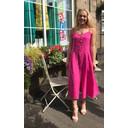 Anya Linen Button Dress - Fuchsia