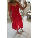 Anya Linen Button Dress - Red