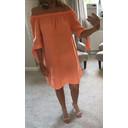 Bridget Linen Bardot Dress - Orange