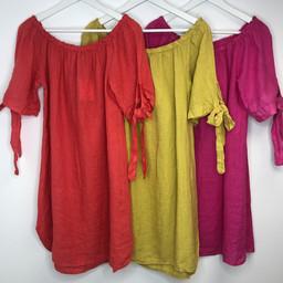 Lucy Cobb Bridget Linen Bardot Dress - Fuchsia