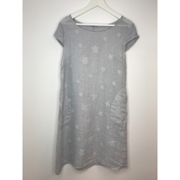 Lucy Cobb Lorne Linen Printed Dress in Light Grey Star